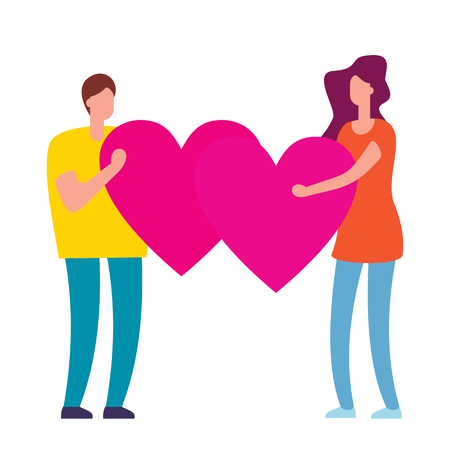 Concept of love. People with pink heart in hands. Man and woman hold hearts. Valenine day. Love and relationship. Flat cartoon design, vector illustration