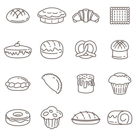 Outline bread and bakery vector icon set. elements of bakery design. Bread, cake and rolls. Symbols for bakery poster, banner and apps.
