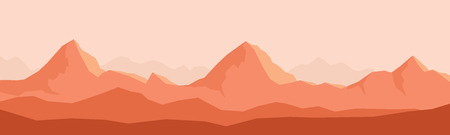 Silhouette mountain panorama skyline wit nature wildlife landscape backgrounds. Wildlife mountain silhouette, skyline panorama vector concept