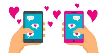 Romance online dating concept. Loving couple corresponding in app of mobile phones. Dating applications flat concept. Illustration of dating online, couple love in network