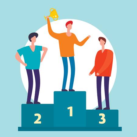 Man with trophy cup. Business competition winner. Businessman with winner cup standing on podium flat concept. Winner man success on podium