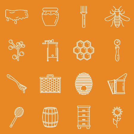 Honey icons, thin line style. Honey apiary outline icons set. Honeycomb and bee, beehive elements for apiary design Ilustração