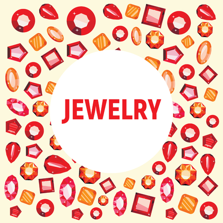 Colorful jewelry flat icons luxury concept. Red and yellow crystals, diamond shapes, polygon stones illustration. Crystal stone and gem stone precious illustration Ilustração