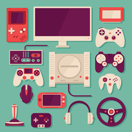 Collection in stylish retro colors of virtual computer game items and elements. Flat retro design vector illustration concept of game environment, tools and essentials. Various devices.