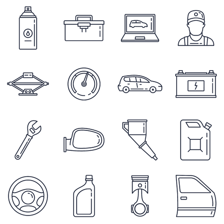 Set vector line icons car service, auto repair and transport with elements for mobile concepts and web apps isolated on white background. Collection modern infographic logo and pictogram Ilustração