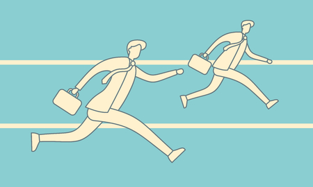 Running businessmen outline vector illustration. Leadership achievement competition business win team vector retro concept. Jogging people run track race teamwork