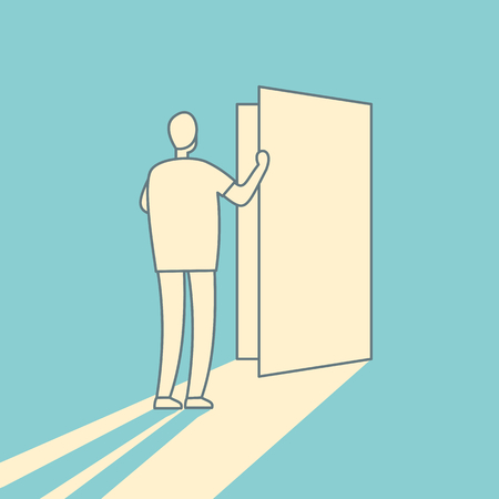 Man opens the door linear vector illustration. Secret door opportunity, accessible entering vintage concept. Risk solution and leadership vector picture