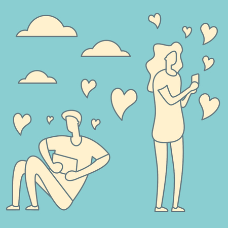 Man and woman follow smartphone with message and like. Social media outline concept. Vector online romantic dating in retro style. Boy and girl using mobile application for talking