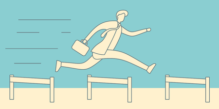 Businessman jumping over hurdles vector linear concept. Business challenge, successful overcoming illustration. Leadership achievement competition business win retro concept