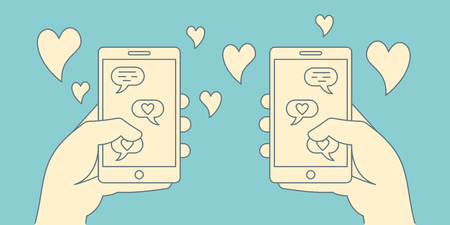 Romance online dating retro concept. Loving couple corresponding in app of mobile phones in linear style. Dating applications outline concept. Illustration of dating online, couple love in network
