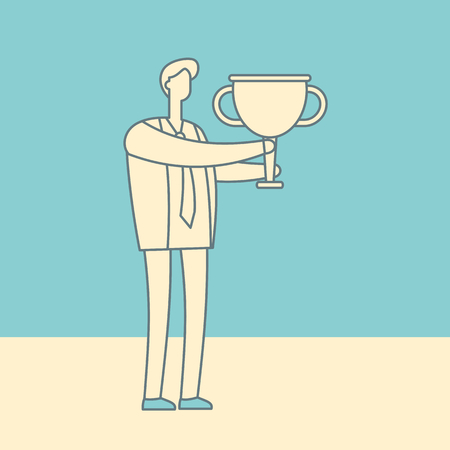 Manager with winning trophy cup vintage banner. Success business man vector linear concept. Businessman success with cup trophy, victory leader outline illustration Ilustração