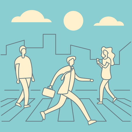 People cross the road at crosswalk in linear style. People on crosswalk. Businessmen walking city street. Business outline concept. Business man on crosswalk city retro vector illustration