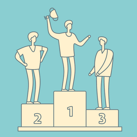 Man with trophy cup. Business competition winner. Businessman with winner cup standing on podium retro linear concept. Winner man success on podium