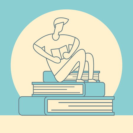 Reading man sits on pile of books. Self education retro vector concept. Young man sitting on the books linear vector illustration