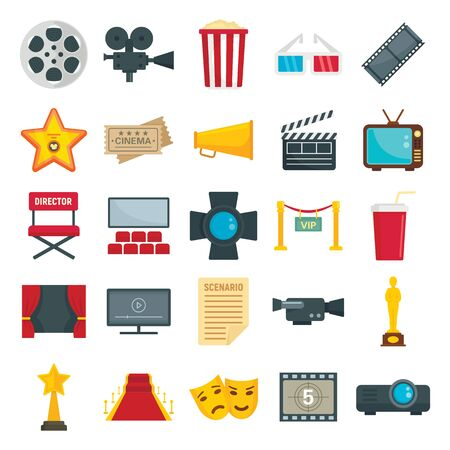 Flat set of cinema and TV symbols. Vector collection of tickets, popcorn, camera isolated on white background. Movie cinema, TV and ticket to entertainment