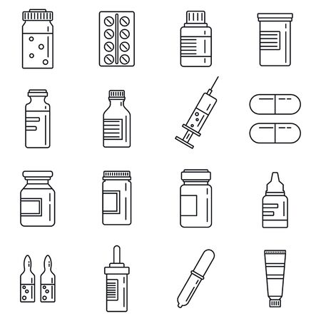 Simple set of medicine pills vector outline icons. Pharmaceutical products with tablets, pills, syrup, syringe and others 版權商用圖片 - 137677112