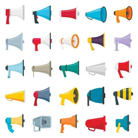 Flat pictures set of loud speakers. Symbols for promotion and announce. Speaker and megaphone, loudspeaker for announcement isolated on white background