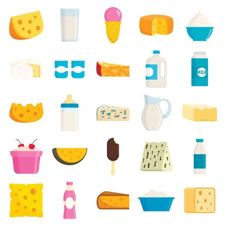 Collection of different milk products in flat style. Ice cream, cheese, product of milk fresh in glass bottle, orgamic food for breakfast isolated vector Çizim