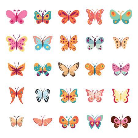 カラーフラットバタフライセット。蝶ベクトルコレクションスプリング。白い背景に隔離されたヴィンテージ昆虫ベクターコレクション  イラスト・ベクター素材