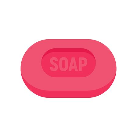 Pink soap flat icon. Vector Pink soap in flat style isolated on white background. Element for web, game and advertising
