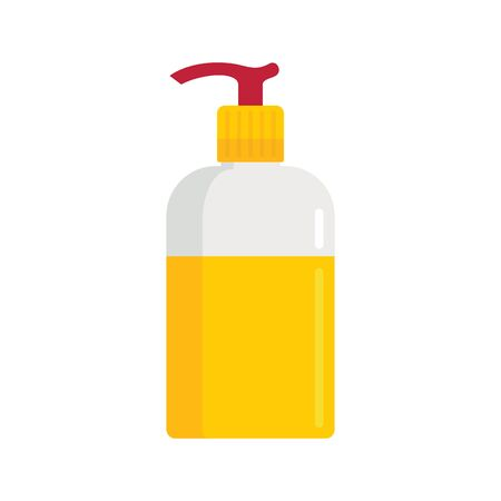 Soft liquid soap bottle flat icon. Vector soft liquid soap in flat style isolated on white background. Element for web, game and advertising