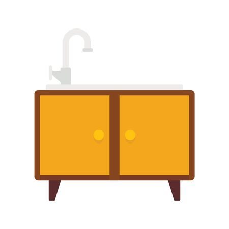 washbasin flat icon. Vector washbasin in flat style isolated on white background. Element for web, game and advertising