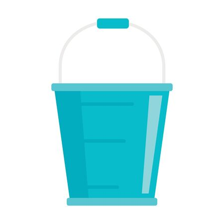 Metal bucket flat icon. Vector Metal bucket in flat style isolated on white background. Element for web, game and advertising Vecteurs