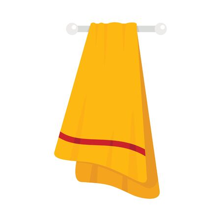 Yellow towel flat icon. Vector Yellow towel in flat style isolated on white background. Element for web, game and advertising