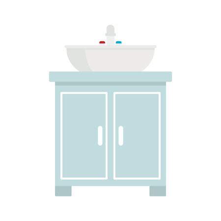 Washbasin flat icon. Vector washbasin in flat style isolated on white background. Element for web, game and advertising 版權商用圖片 - 132683976