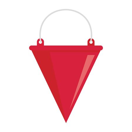 Firefighter bucket flat icon. Vector firefighter red bucket in flat style isolated on white background. Element for web, game and advertising 版權商用圖片 - 132683782