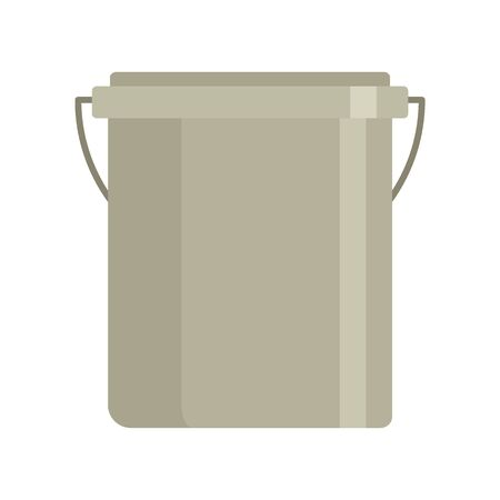 Plastic garden bucket flat icon. Vector Plastic garden bucket in flat style isolated on white background. Element for web, game and advertising