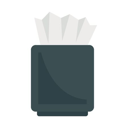 Napkins flat icon. Vector box witn napkins in flat style isolated on white background. Element for web, game and advertising  イラスト・ベクター素材