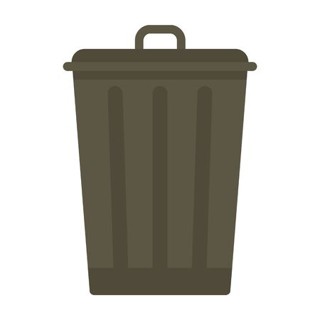 Trash bin flat icon. Vector Trash bin in flat style isolated on white background. Element for web, game and advertising 向量圖像