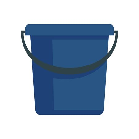 Blue plastic bucket flat icon. Vector blue bucket in flat style isolated on white background. Element for web, game and advertising