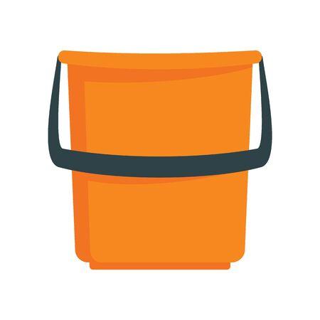 Trash orange bucket flat icon. Vector Trash orange bucket in flat style isolated on white background. Element for web, game and advertising