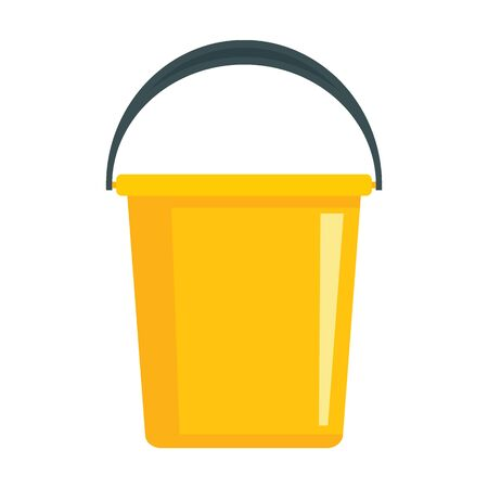 Domestic yellow bucket flat icon. Vector Domestic yellow bucket in flat style isolated on white background. Element for web, game and advertising