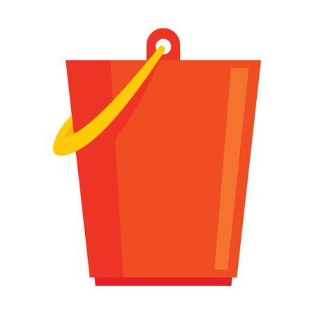 Red plastic bucket flat icon. Vector Red plastic bucket in flat style isolated on white background. Element for web, game and advertising  イラスト・ベクター素材