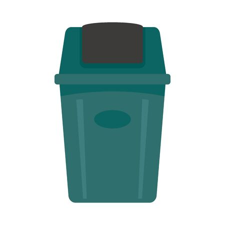 Trash bucket flat icon. Vector Trash bucket bin in flat style isolated on white background. Element for web, game and advertising