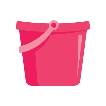 Pink toy bucket flat icon. Vector Pink toy bucket in flat style isolated on white background. Element for web, game and advertising