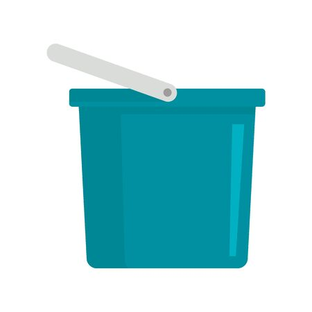 Blue bucket flat icon. Vector Blue bucket in flat style isolated on white background. Element for web, game and advertising