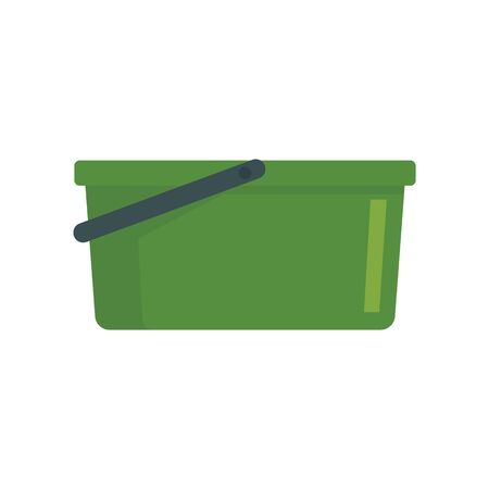 Green garden bucket flat icon. Vector Green garden bucket in flat style isolated on white background. Element for web, game and advertising 向量圖像
