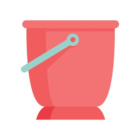 Red bucket flat icon. Vector Red bucket for water in flat style isolated on white background. Element for web, game and advertising 版權商用圖片 - 132686807