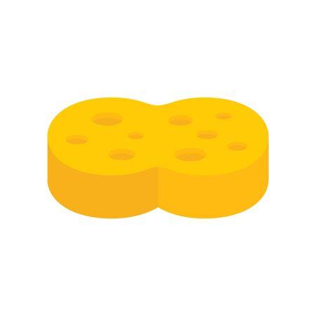 Icône plate éponge jaune. Vector éponge jaune dans un style plat isolé sur fond blanc. Élément pour le web, le jeu et la publicité
