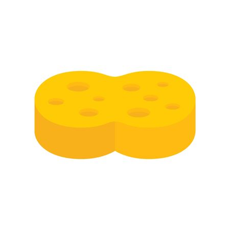 Yellow sponge flat icon. Vector Yellow sponge in flat style isolated on white background. Element for web, game and advertising