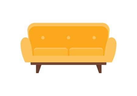 Yellow furniture sofa flat icon. Vector Yellow furniture sofa in flat style isolated on white background. Element for web, game and advertising 向量圖像