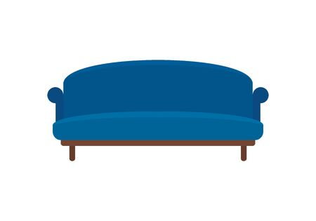 Blue soft retro sofa flat icon. Vector Blue soft retro sofa in flat style isolated on white background. Element for web, game and advertising 版權商用圖片 - 132799921