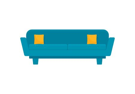 Blue art sofa flat icon. Vector Blue art sofa in flat style isolated on white background. Element for web, game and advertising 向量圖像
