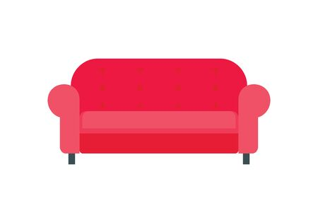 Red sofa flat icon. Vector Red sofa in flat style isolated on white background. Element for web, game and advertising 版權商用圖片 - 132812628