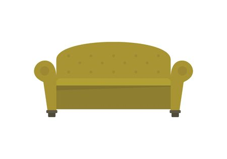 Vintage decorative sofa flat icon. Vector Vintage decorative sofa in flat style isolated on white background. Element for web, game and advertising 版權商用圖片 - 132817428
