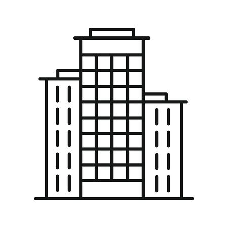 Line vector residential building on white background